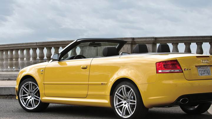 Side Back Pose Of Audi RS4 Cabriolet In Yellow